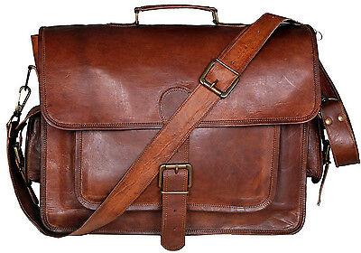 Men's Genuine Vintage Brown Leather Shoulder Messenger Laptop Bag Briefcase