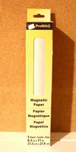 "NIB ProMAG Magnetic Paper 3 sheets 8.5x11"" White PRINTABLE/SCRAPBOOK MACHINES"