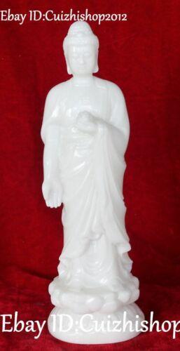 "11"" Natural White Jade Carving Stand Sakyamuni Shakyamuni Amitabha Buddha Statue"