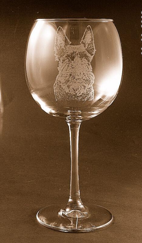 New! Etched Scottie / Scottish Terrier on Large Elegant Wine Glasses - Set of 2