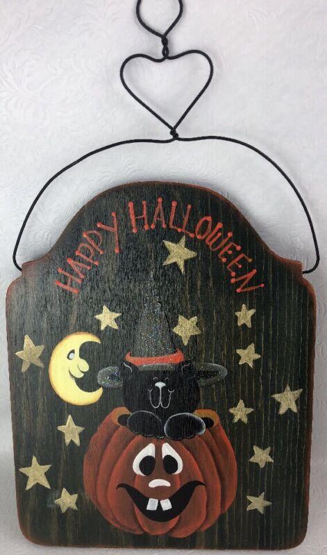 Happy Halloween Hand Painted Sign Black Cat Pumpkin Fall Cat Lovers Porch Decor