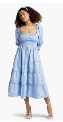 Hill House Home Nesli Nap Dress Light Blue Glitter Check Sz L