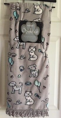 "Berkshire Opulence Plush Pet Throw Blanket 50""x 60"" Dogs AND Cats Mice Balloons"