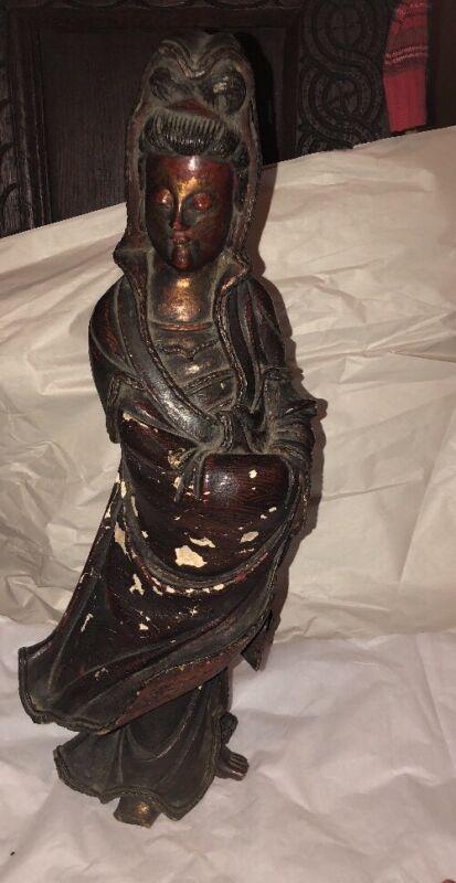 """Antique Chinese Guan yin GuanYin Kwan-yin Carved Statue Polychrome 19"""""""