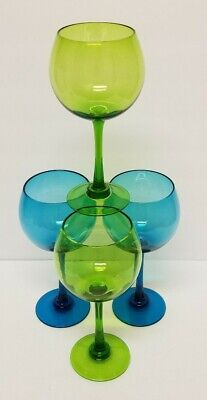 Blue Wine Glasses (Set of 4 Balloon Red Wine Glasses 2- Blue/Teal & 2-Olive Green 8.5