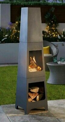 Gardenline Black Steel Square Chiminea Fire Pit  COLLECT NOW!