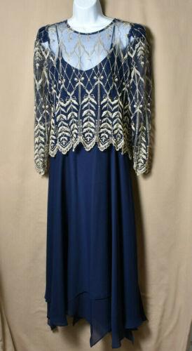 CACHET by Bari Protas Size 15/16  2 Pc Vintage FORMAL Blue DRESS Mother Of Bride