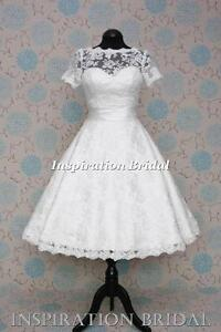 1521-short-Tea-Length-knee-lace-wedding-dress-cap-short-sleeves-vintage-50s-60s