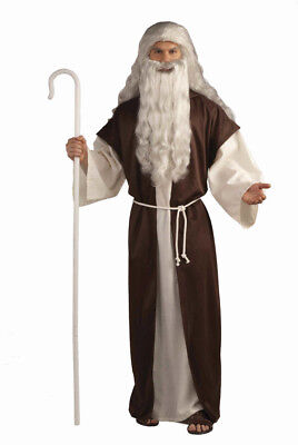 Biblical Shepherd/Moses/Noah Costume 2Pc Br/Ivory Hooded Robe & Cord Belt Lg/Xl - Moses Costumes