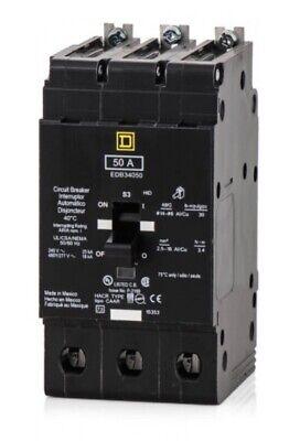 New In Box Schneider Square D Edb34050 3 Pole 50amp 480v Circuit Breaker