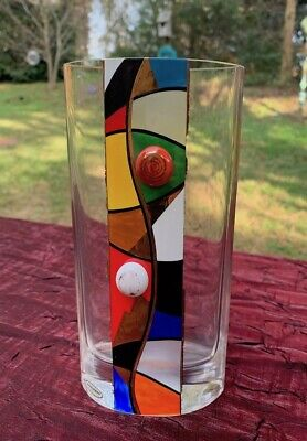 Kisslinger Vase Mod Art Crystal Rattenberg Austria Abstract Geometric Bauhaus