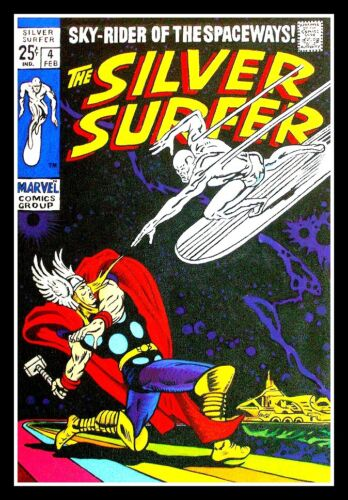 """4.75"""" The Silver Surfer & Thor vinyl sticker. #4 Comics decal for car, laptop."""