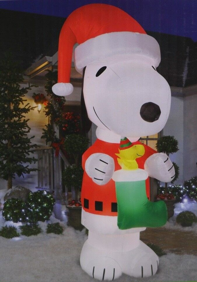 10' Gemmy Peanuts Snoopy & Woodstock Christmas Airblown Inflatable Yard Blow Up