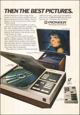 1980s vintage Ad PIONEER LASER DISC Player,  Lisa MInelli Projection TV  111717