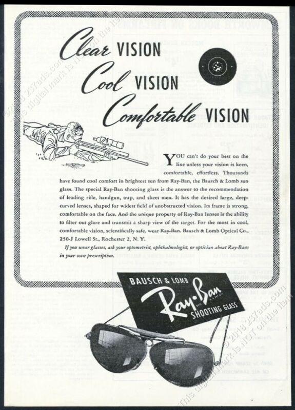 1947 Ray-Ban sunglasses Shooting Glass photo vintage print ad