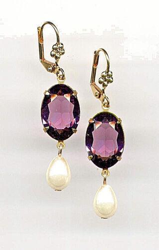 BEAUTIFUL AMETHYST cut-crystal PEARL Teardrop Earrings 14K Gold gp Vintage Czech