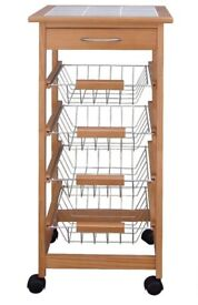 Kitchen Trolley with Ceramic Tile Top