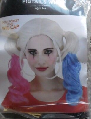 HARLEY QUINN PIGTAILS  HALLOWEEN COSTUME WIG NEW! - Halloween Pigtails