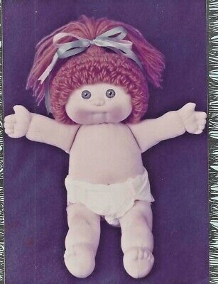 """16""""CLOTH/SOFT SCULPTURE CABBAGE PATCH BABY/TODDLER ART DOLL w/YARN HAIR PATTERN"""