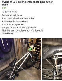 Swap or £35 Silver diamond bmx