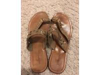 Warehouse tan real leather sandals flip flops 5