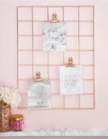 Brand new rose gold stationary wire grid with clips, memos