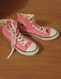 Girls pink high top converse size 2