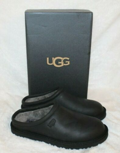 NIB UGG Classic Leather Slide Shearling Lined Clog Slippers Black