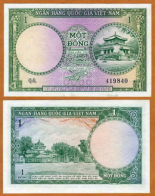 Vietnam / Viet Nam South, 1 Dong, ND 1956 , P-1, UNC - $4.70