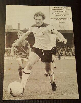 Fulham XI v Wales Gordon Davies Testimonial Programme 27/05/91
