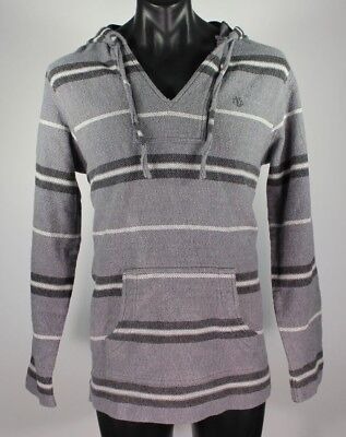 Element Mens V-Neck Hooded Gray Striped Long Sleeve Sweater Size XL