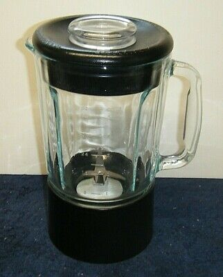Kitchen Aid 40oz Blender Replacement Glass Pitcher Jar BLACK Lid & Cuff
