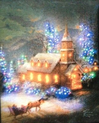 CHRISTMAS TAPESTRY - 'SUNDAY CHURCH' THOMAS KINKADE - 66CM X 92CM
