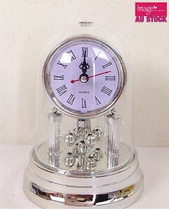1pc Silver Plated Dome Mantel Clock Romen Numerals Round Quartz Clock
