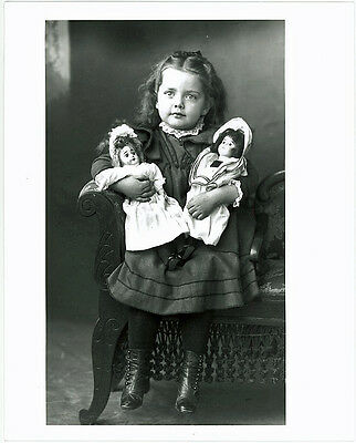 """Vintage 8"""" x 10"""" Photograph of Pretty Young Girl & Dolls Early 1900's"""