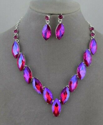 - Pink Blue AB Rhinestone Necklace Set Silver Fashion Jewelry NEW