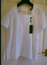 White tunic for hair/nails/beauty size 14 brand new with tags. Cost £40