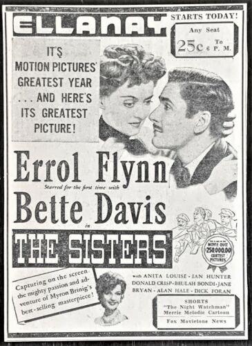 1938 Bette Davis & Errol Flynn movie advertisement - Original