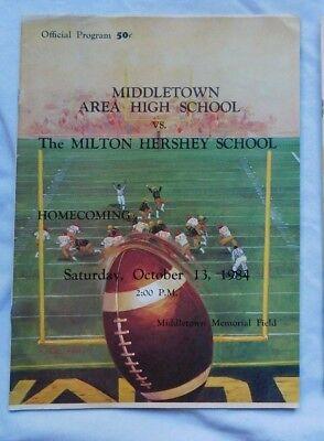 Middletown Area High School  Milton Hershey School Football Pa Program 10/13/84