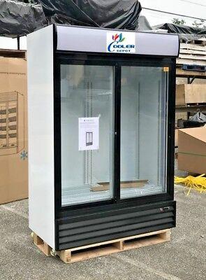 Commercial Glass Sliding Two Door Merchandiser Display Refrigerator Nsf 53x27x80
