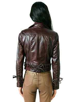 KILL CITY 100% LEATHER MOTO MOTORCYCLE BIKER LACED PUNK GOTHIC JACKET COAT S Clothing, Shoes & Accessories