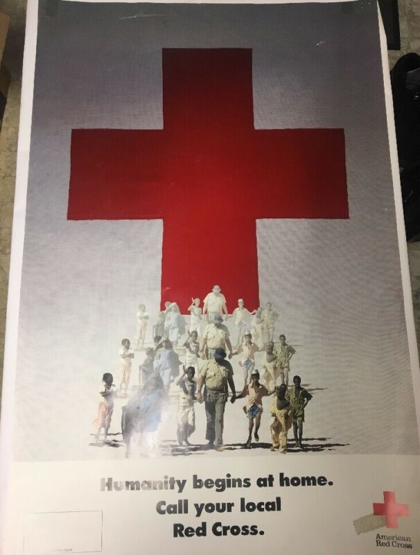 Vtg Red Cross Poster America Humanity Begins At Home 1987