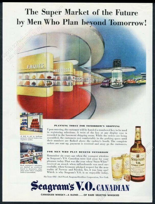 1945 streamlined modern super market art Seagram