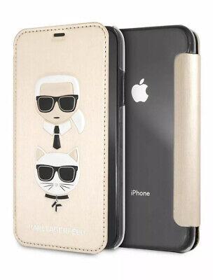 KARL LAGERFELD Karl & Choupette iPhone XR Flip Case w/ Card Slots GOLD Fendi Dir