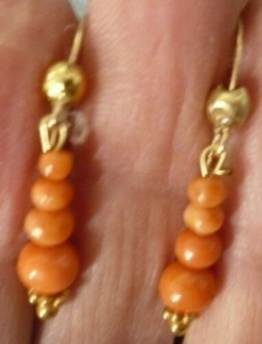 Antique Mediterranean Coral Dangle Earrings- 12 K Gold Filled- Pierced-Excellent