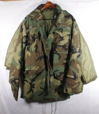US Military M-65 Field Jacket Small Long Woodland Camo BDU Cold Weather w/Liner