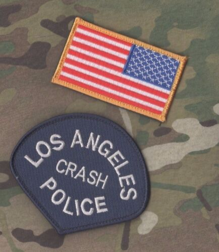 LOS ANGELES POLICE LAPD AUTHENTIC LAPD ⭐CRASH⭐ vêlkrö INSIGNIA + REVISED US FLAG