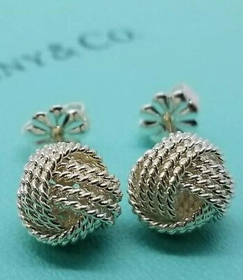 Authentic Tiffany & Co New Twist Knot Stud Earrings Sterling Silver AG925