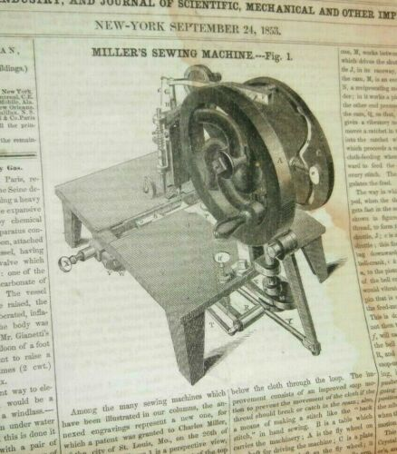 1853 CHARLES MILLER SEWING MACHINE ST LOUIS REPORT