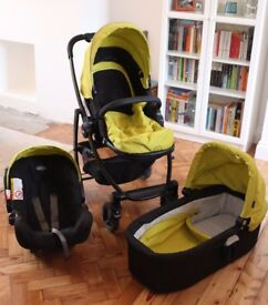Graco Evo 3-in-1 Travel System, lime. Includes pram, infant car seat & push chair. V good condition